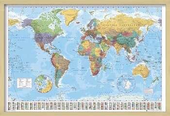 Zarámovaný plagát World Map - Political