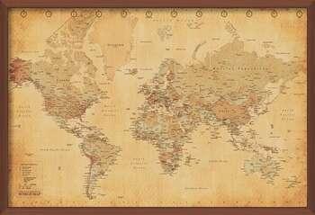 Zarámovaný plagát World Map - Antique Style