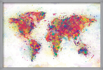 Zarámovaný plagát World Map - Colour Splash