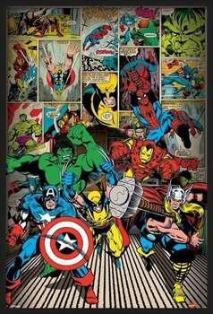 Zarámovaný plagát MARVEL COMICS - here come