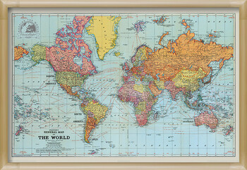 Zarámovaný plagát Stanfords General Map Of The World - Colour