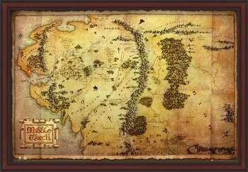 Zarámovaný plagát The Hobbit - Middle Earth Map
